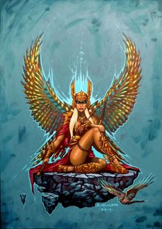 "Freyja - Norse Goddess.. One of her names is Valfreyja, the ""Lady of the Slain"" (or ""Freyja of the Slain""). It relates to her role as chief of the Valkyries, and keeper of Sessrúmnir, her feast hall in Fólkvangr. This is where half of those slain in battle are sent. The others are sent to Odin to reside in Valhalla."