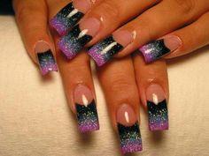 Three tone french nail art