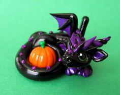 "Black dragon with Pumpkin ~ Becca Golins aka ""DragonsAndBeasties"":"