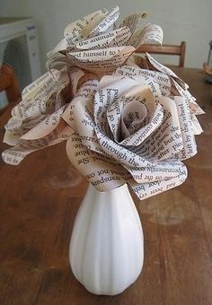 book paper flowers - I can see Caleb doing this for me - he is great at Origami Flower Crafts, Diy Flowers, Fabric Flowers, Book Flowers, Real Flowers, Flower Vases, Budget Flowers, Origami Flowers, Fun Diy Crafts