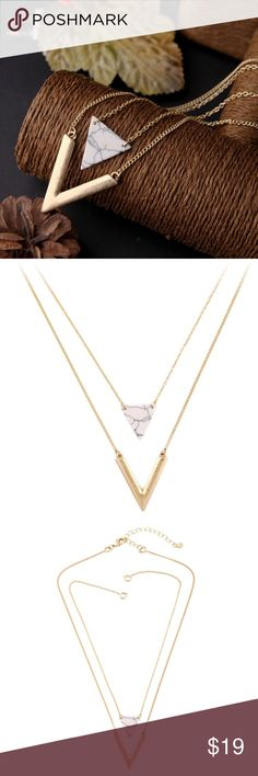 Gold & White Marble Triangle Necklace NWT in original packaging. Two in one design for layering effect. A gorgeous spring style statement piece! Jewelry Necklaces