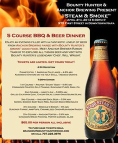 """Anchor Brewery & Bounty Hunter BBQ  """"5 Course BBQ & Beer Dinner""""  Napa Valley, CA"""