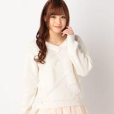 J-Fashion / Tops / LIZ LISA Ribbon Knit Long Sleeve Shirt