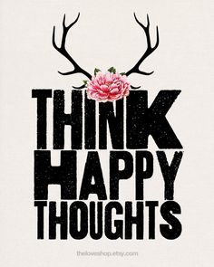 Think Happy Thoughts - 8x10 on A4 Vintage Style Type Print (in Natural, Black and Pink)