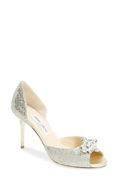 Jimmy Choo 'Maria' Crystal Embellished Open Toe d'Orsay Pump