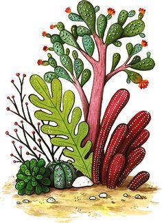 Botanical Flowers, Cactus Plants, Layout, Ornaments, Digital, Sailor, Graphic Design, Page Layout, Cacti