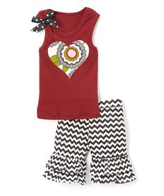 Look at this Maroon Heart Tank & Black Chevron Shorts - Infant Toddler & Girls on #zulily today!