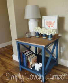 This beautiful end table is DIY!  Check out the blog to see pictures of the building process and to get a link to Ana White for the plans!