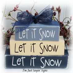 Let It Snow Itty Bitty Wood Block Sign by ImJustSayinSigns on Etsy, $10.95
