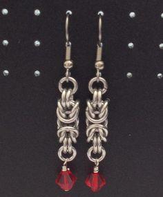 Aluminum/Light Siam Byzantine Earrings by lovestruckjewelry, $16.00