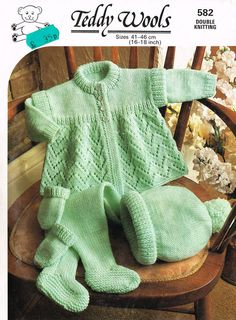 Teddy 582 baby pram suit vintage knitting pattern PDF instant download