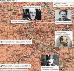 In 1913 Adolf Hitler, Leon Trotsky, Joseph Tito, Sigmund Freud and Joseph Stalin all lived in the same place - in central Vienna! Sigmund Freud, Ferdinand, Vienna Map, Joseph Stalin, Archduke, Facts You Didnt Know, Austro Hungarian, Cat Lovers, Napoleon