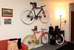 Indoor Bike Storage, Modern Interior Decorating with a Bike Bike Storage Modern, Bike Wall Storage, Bike Storage Apartment, Indoor Bike Storage, Indoor Bike Rack, Diy Storage, Storage Ideas, Storage Racks, Wall Racks