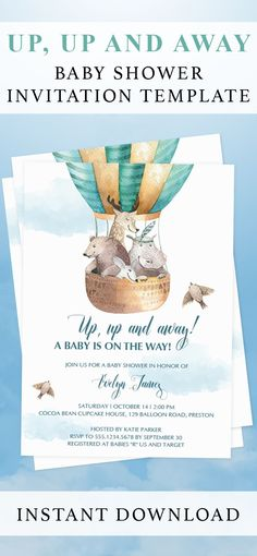 Hot air balloon themed baby shower invitation template by LittleSizzle. Click through to create yours or re-pin for later! Personalize your own baby shower invitation for an up, up and away themed baby shower. Simply download, edit and print in just minutes! WOW everyone with your unique invitation for a boy baby shower. #babyshowerinvitation #upandaway #hotairballoon #babyshowerthemes #babyshowerideas #invitationtemplate #DIY