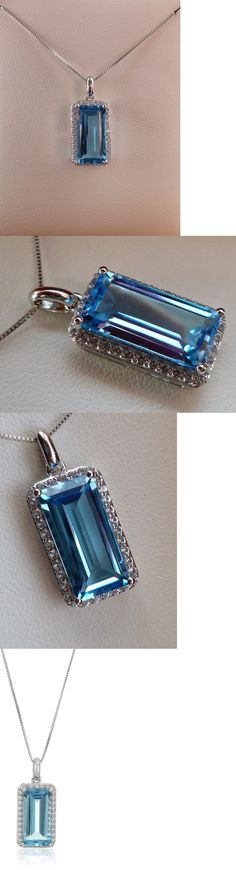 Gemstone 164332: New 3Ct Swiss Blue Topaz And White Sapphire Halo Pendant Necklace- 10K Gold 18 -> BUY IT NOW ONLY: $144.95 on eBay!