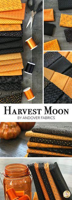 Halloween FQ Haunting Renee Nanneman Andover Fabrics 1 Fat Quarter Orange