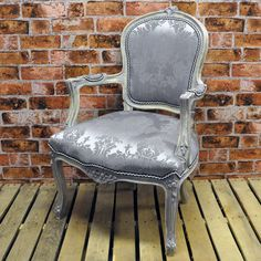 Grey French Style Louis Arm Chair with Grey Damask Fabric