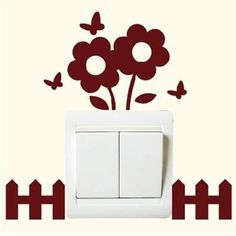 Pastorale Style flower vinyl socket switch wall sticker DIY Plant Removable home decor decal moistureproof Strong viscous poster