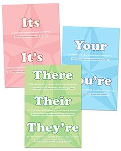 """Misused Words Set 1 - 12"""" x 18"""" Each - Classroom Poster S...…"""