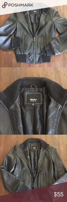Vintage Leather bomber jacket, size XS Excellent condition, black 100% leather bomber jacket from Mossimo. Size XS Mossimo Supply Co. Jackets & Coats