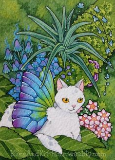 Absolutely gorgeous ACEO by artist, Brenda Saydak. ACEO cat fairy Catterfly Shinrin Yoku Forest Bathing kitty fairy Japanese sfa