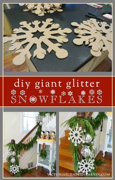 DIY giant glitter snowflakes... tutorial & template.  Oversized snowflakes are great individually, or string them together for a fun garland!