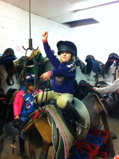 """Even when we are only playing at riding horses we always wear our helmets!!! Faith Jolleys, age 7 from the UK"" - Dawn Jolleys"