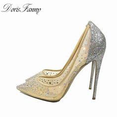 DorisFanny silver bling fashion design women s high heel pumps summer see  through Party Wedding stiletto shoes 12cm thin heels ee658943ad4f