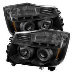 Spyder Auto PRO-YD-NTI04-HL-BSM | 2005 Nissan Titan Black Smoke LED Halo Projector Headlights for SUV/Truck/Crossover