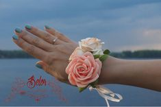 Items similar to Peachy Coral Corsage/ Wrist Corsage/ Corsage bracelet/ Bridesmaid corsage/ Rose corsage. on Etsy Prom Corsage And Boutonniere, Bridesmaid Corsage, Rose Corsage, Corsage Wedding, Bridesmaid Bracelet, Wedding Bouquets, Wedding Flowers, Corsages, Wrist Flowers