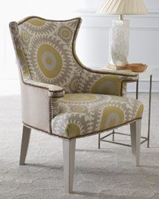 Pricey   But Like This Idea Of Nailhead Trim + Patterned Fabric On Inside  And Solid