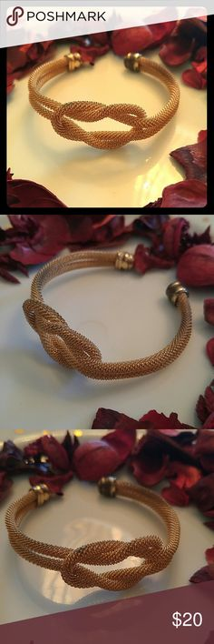 GOLD MESH KNOT BRACELET Gold Mesh, Adjustable for any wrist size. Gently used, great condition!  BUNDLE & save! Top Rated Seller Top 10% Rated Sharer Posh Mentor Fast Shipper 5 Star Rated Seller Top 10% Rated Seller! Jewelry Bracelets