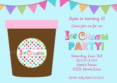 Ice Cream Party Invitation  Ice Cream Tub  by LillyMaeDesigns, $13.00