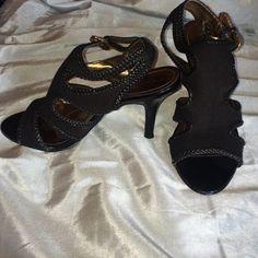 "Black leather braided open toe heels Tahari ""Lexi"" black leather braided peep-toe 4"" heels. Size 7.5M. Tahari Shoes Heels"