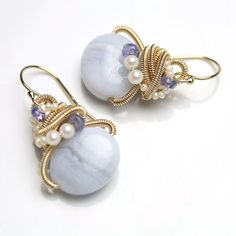 Blue Lace Agate Tanzanite and Pearl Drop Earrings by fussjewelry