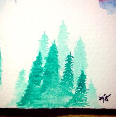 Nine of Pine Trees #Trees #Watercolor