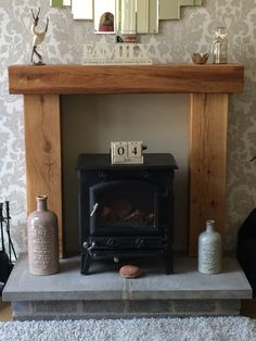 Fire Place Solid French Oak Beam Surround Mantle by CelticTimber – fantastic room avesome Fake Fireplace, Rustic Fireplaces, Farmhouse Fireplace, Fireplace Surrounds, Fireplace Design, Fireplace Mantels, Black Fireplace, Victorian Fireplace, Electric Stove Fireplace