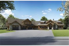 Enjoy the spectacular amenities featured on this Ranch style house with Cottage and Craftsman characteristics. The multiple gables, combined with the natural materials used in the timber and stone accents, give this house its great curb appeal. The beautiful 1-story floor plan has 2803 square feet of heated-cooled living space and includes 3 bedrooms. Garage House Plans, 3 Car Garage, Ranch House Plans, Craftsman House Plans, New House Plans, Dream House Plans, Garage Doors, Craftsman Homes, Craftsman Style