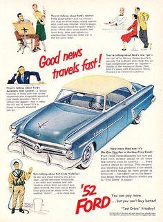 Vintage Ford Ad 1952 by hmdavid, via Flickr #throwback #vintage #classic #ford #ad #drivedana #nyc