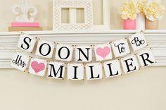 Soon To Be Mrs Banner, Bridal Shower Decorations, Bridal Shower Banner, Bachelorette Party, Pink Glitter Bridal Shower, B206