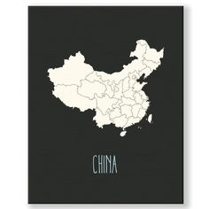 """KindredSolCollective Vintage ChinaMap Graphic Art Print on Canvas Size: 24"""" H x 18"""" W x 1"""" D"""