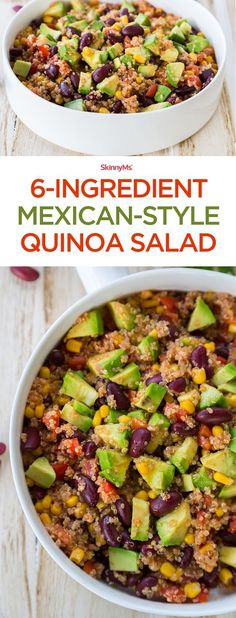 6-Ingredient Mexican-Style Quinoa Salad - Just 212 calories and SmartPoints: 5. Dish up and enjoy! #cleaneatingrecipes #weightwatchers #ww #lowcalorie #lowingredient #quinoarecipes #healthydinnerrecipes #entrees #maindish #homecook #healthyfamilyrecipes #vegetarianrecipes #recipefavorites