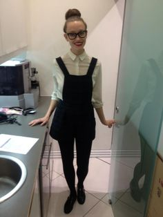 Today was Rachel's first day as a Personal Shopper. She channels Geek Chic like a pro! #personalshopping #geekchic #specs #pinafore
