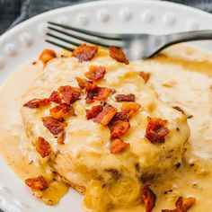These Instant Pot boneless pork chops are one of the best pressure cooker recipes tender meat smothered in a creamy dijon gravy and topped with crispy bacon super easy an. Pork Chops Instant Pot Recipe, Chops Recipe, Ceviche, Enchiladas, Wok, Best Pressure Cooker Recipes, Slow Cooker, Bacon Gravy, Pork Bacon