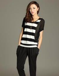 Black Short Bat Sleevess Wide Stripes Round Neck Street Style T-shirt Love
