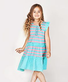 Loving this Turquoise Stripe Angel-Sleeve Dress - Infant, Toddler & Girls on #zulily! #zulilyfinds