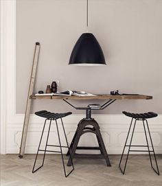 nice working space. Great lamp (Note to self: hang it higher!)