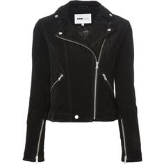 Pop Cph Suede Biker Jacket ($247) ❤ liked on Polyvore featuring outerwear, jackets, tops, casacos, black, biker jackets, zip front jacket, studded motorcycle jacket, studded moto jacket and suede leather jacket