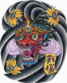 traditional Asian Chinese Japanese tattoo design clouds 3 eyed face
