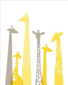 yellow and gray and giraffes!!!